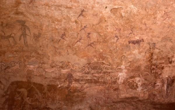 Site de Sefar (Tassili N'Ajjer, Algérie) / Peinture rupestre / Chasseurs et mouflons / 46N-P59-002