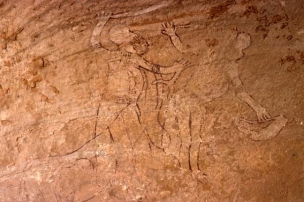 Site de Sefar (Tassili N'Ajjer, Algérie) / Peinture rupestre / Semeuse /