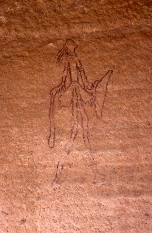Site de Sefar (Tassili N'Ajjer, Algérie) / Peinture rupestre / Chasseur filiforme / 46N-P65-006