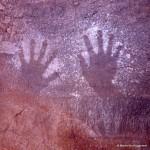 440 Jabbaren (Tassili-n'Ajjer). — Mains en négatif. Nous avions déjà vu de mêmes messages à l'introduc¬tion. Elles sont émouvantes car elles représentent la marque d'un être humain qui les a posées sur la roche en formulant un voeu. Fut-il réalisé ?