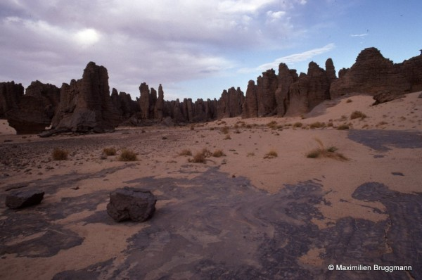 544 Tin-Aboteka (Tassili-n'Ajjer). — Il faut restituer à ce paysage tassilien typique des arbres, des buissons, de l'herbe, de l'eau, des hommes et des bêtes. Même si l'eau n'attaque plus la roche, le sable s'est substitué à elle.