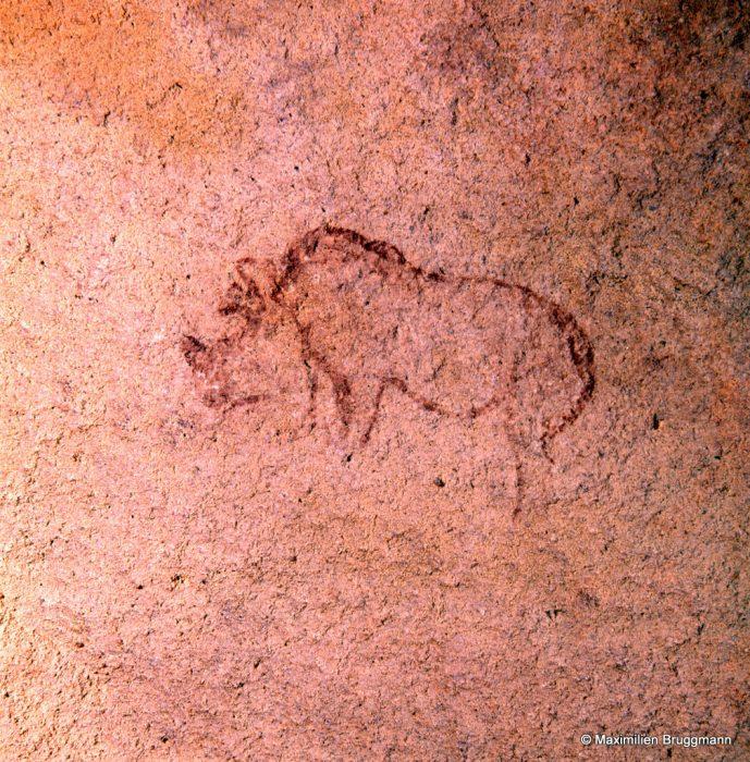 283 Oumat-el-Ham. (Mauritanie). — Rhinocéros peint à l'ocre rouge (découverte de Maximilien Bruggmann et Arthue Taverney en 1969). Longueur : 0,18 m.