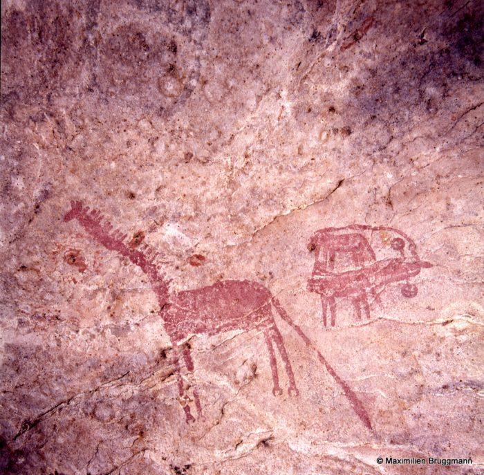 285 Noudache (Mauritanie). — Char tiré par deux boeufs et exécuté à l'ocre rouge. Essieu à deux roues. Le conducteur est ici un homme. La girafe est invo-lontairement comique en fonction de la longueur du cou et de la longueur démesurée de la queue. Du museau de la girafe à la tête du conducteur : 0,48 m.