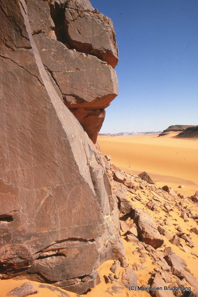104 Enneri Blaka. Vue du site 4. — Girafes de style rigide, décadent. La plus grande mesure 1,05 m de hauteur.