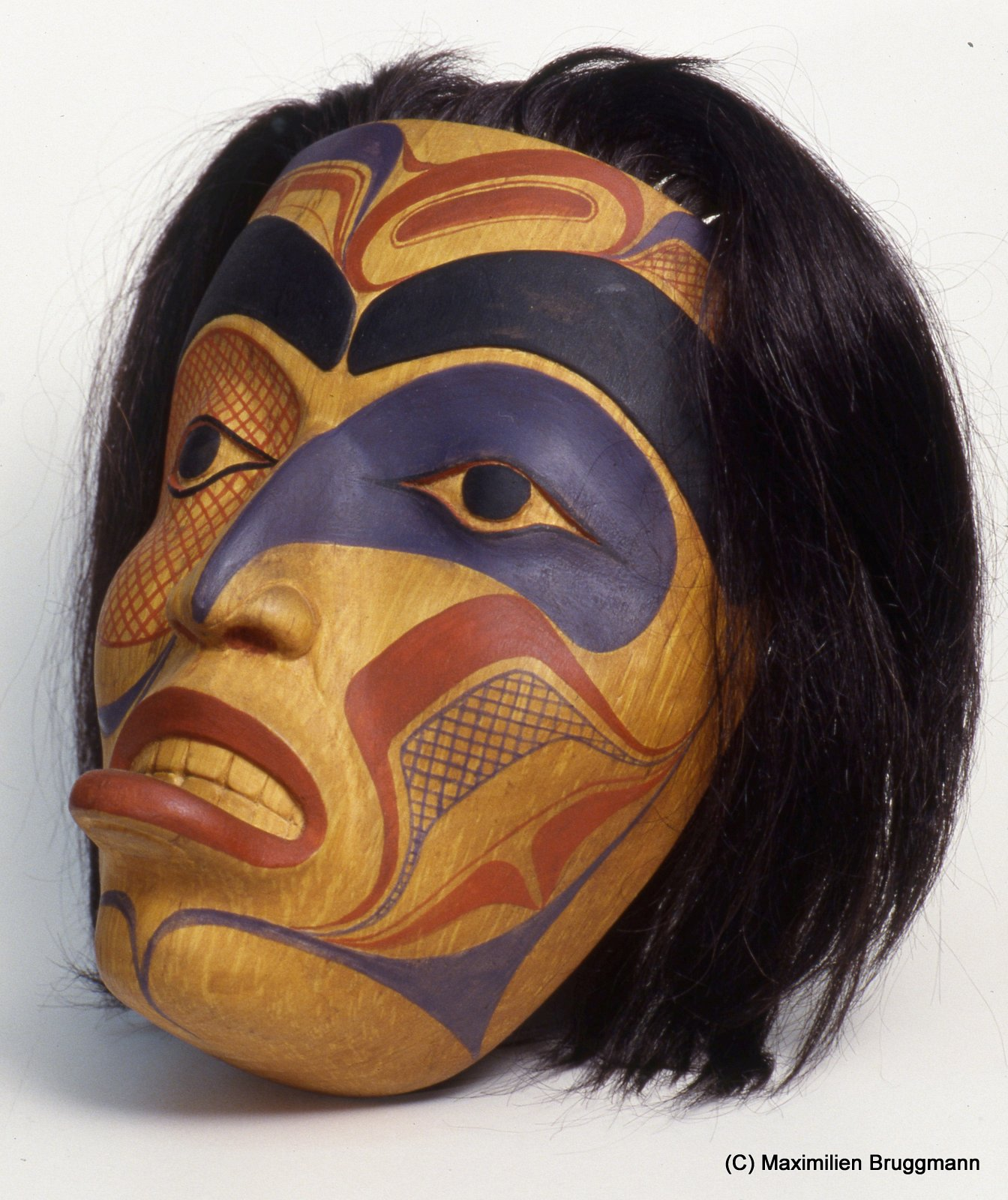 """Women mask with lip plug and tatoos."" Bill Reid, Haida. (22cm, MOA)"