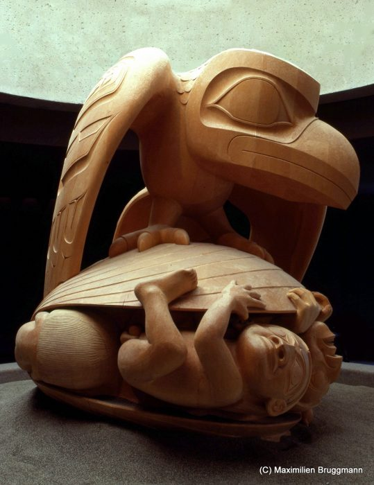 The Haida myth finds its most beautiful visual expression in this 2m- (6.6 feet) high sculpture in white cedar created by artist Bill Reid for the Museum of Anthropology in Vancouver. Dedication festivities for this masterpiece were held in 1980.