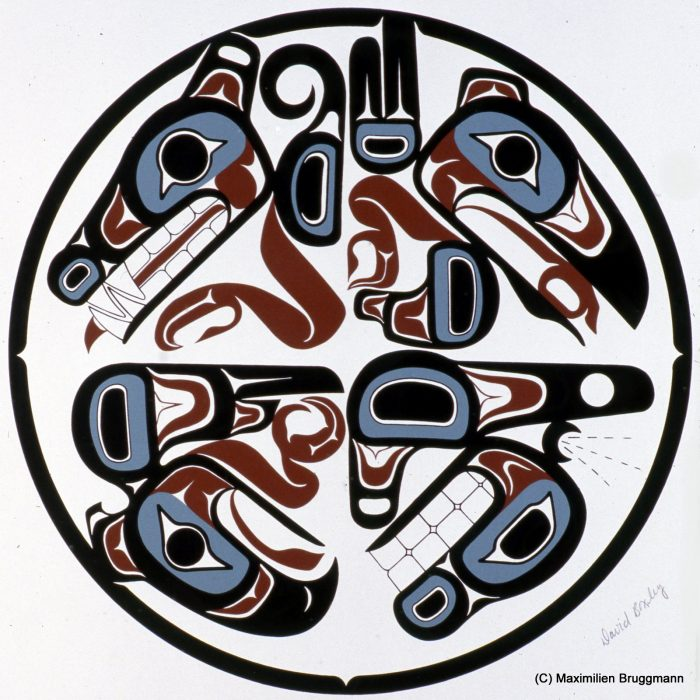 "Tsimshian artist David Boxley: ""Four Clans United"": wolf, raven, eagle and killer whale. Silk-screen in the style of a painting in a drum. (31chm, oJ)"