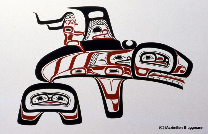 "Haida artist Freda Diesing: ""Killer whale Scana with a Woman"" . Silk-screen (1980)"