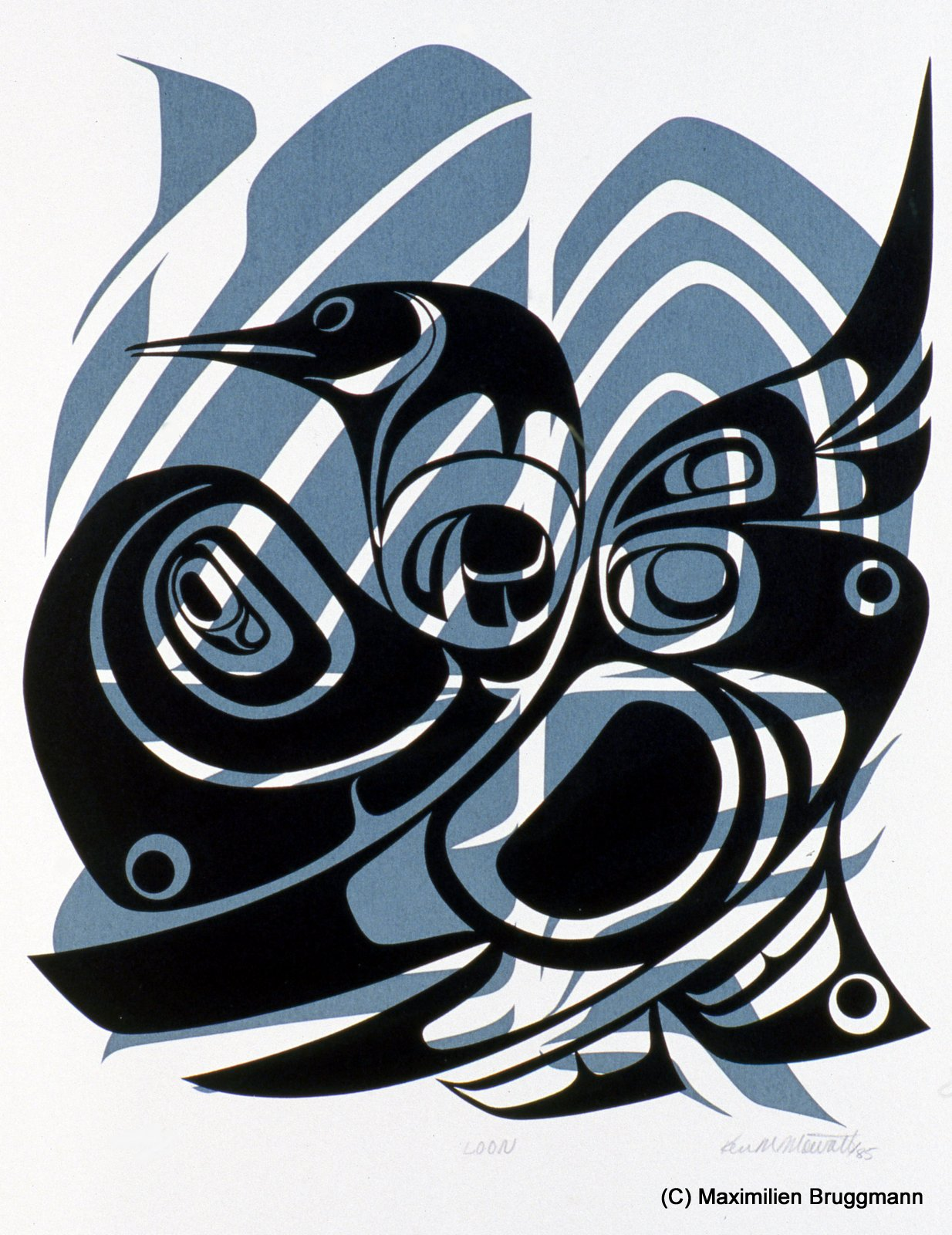"Tsimshian artist Ken Mowatt: ""Loon"". Silk-screen. (39cm, 1985)"