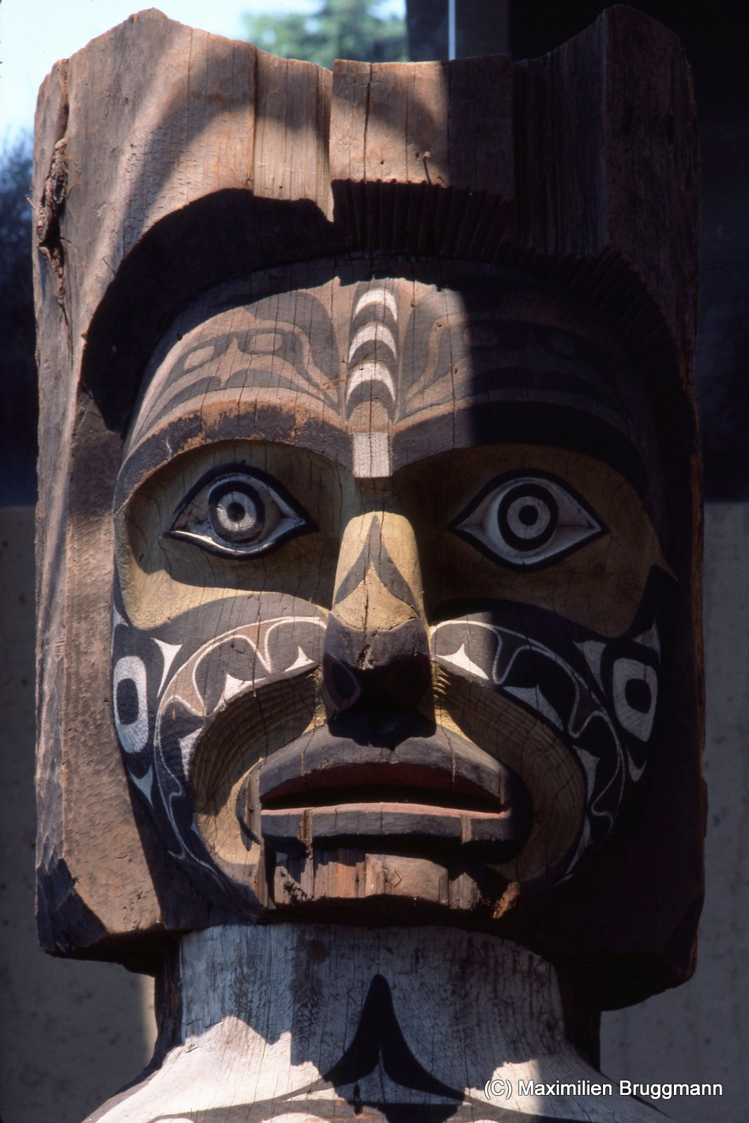 66 This 3.6-meter-tall (12-foot-tall) ancestral figure, carved from the wood of a red cedar, served as a house post in the interior of a Koskimo Kwakiutl house in Quatsino. The lower portion shows two slaves carry¬ing a plank, which presumably served as the seat for a chief. A killer whale and coppers are depicted on the figure. (MOA)