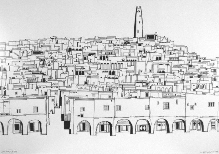 Ghardaïa (Algérie) / Encre de Chine sur bristol / 1998