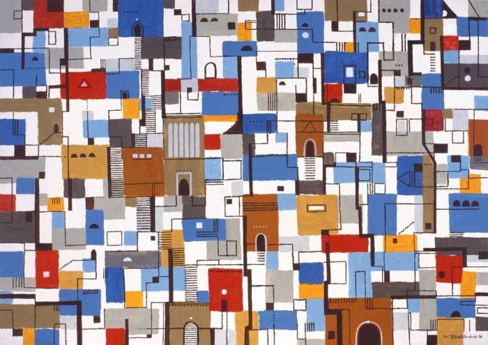 Escalier pour une porte bleue / Acrylique sur bois / 1998