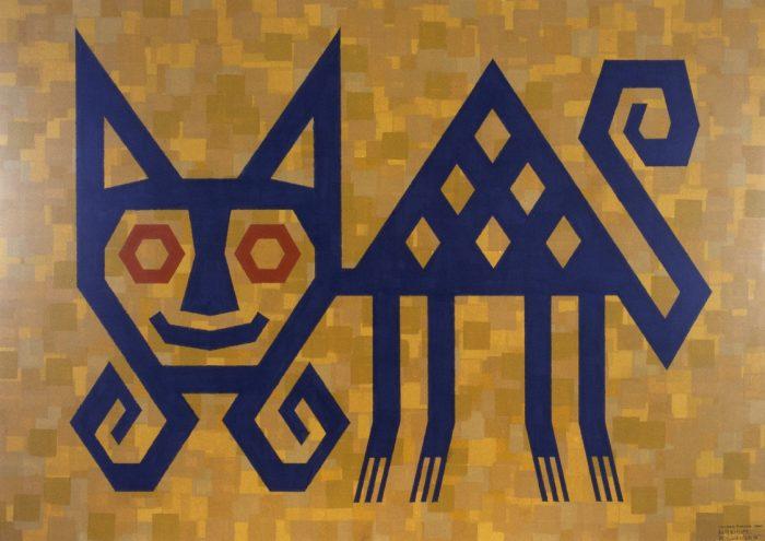 Chat, culture Paracas, Pérou / Gouache sur bristol / 1995