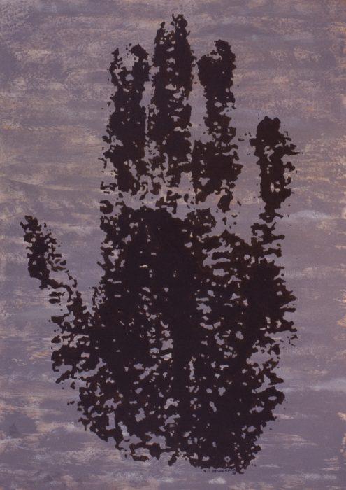 La main de l'Anasazi / Acrylique sur bois / 1998