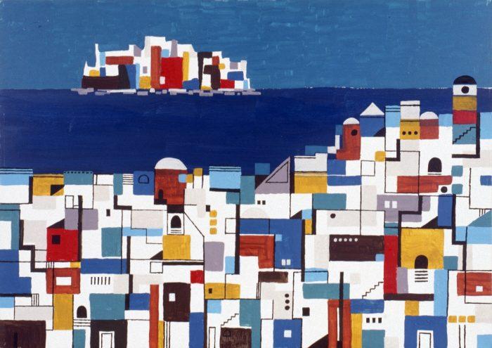 L'île fortifiée / Acrylique sur bois / 1997