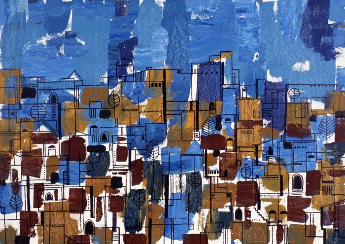La ville bleue / Acrylique sur bois / 1999