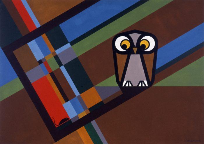 Le hibou et la souris / Acrylique sur bois / 1999