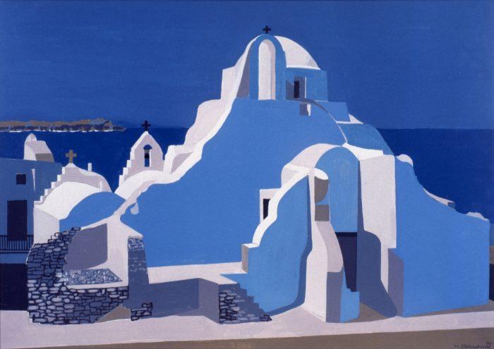 Bleus de Grèce / Acrylique sur bois / 1997